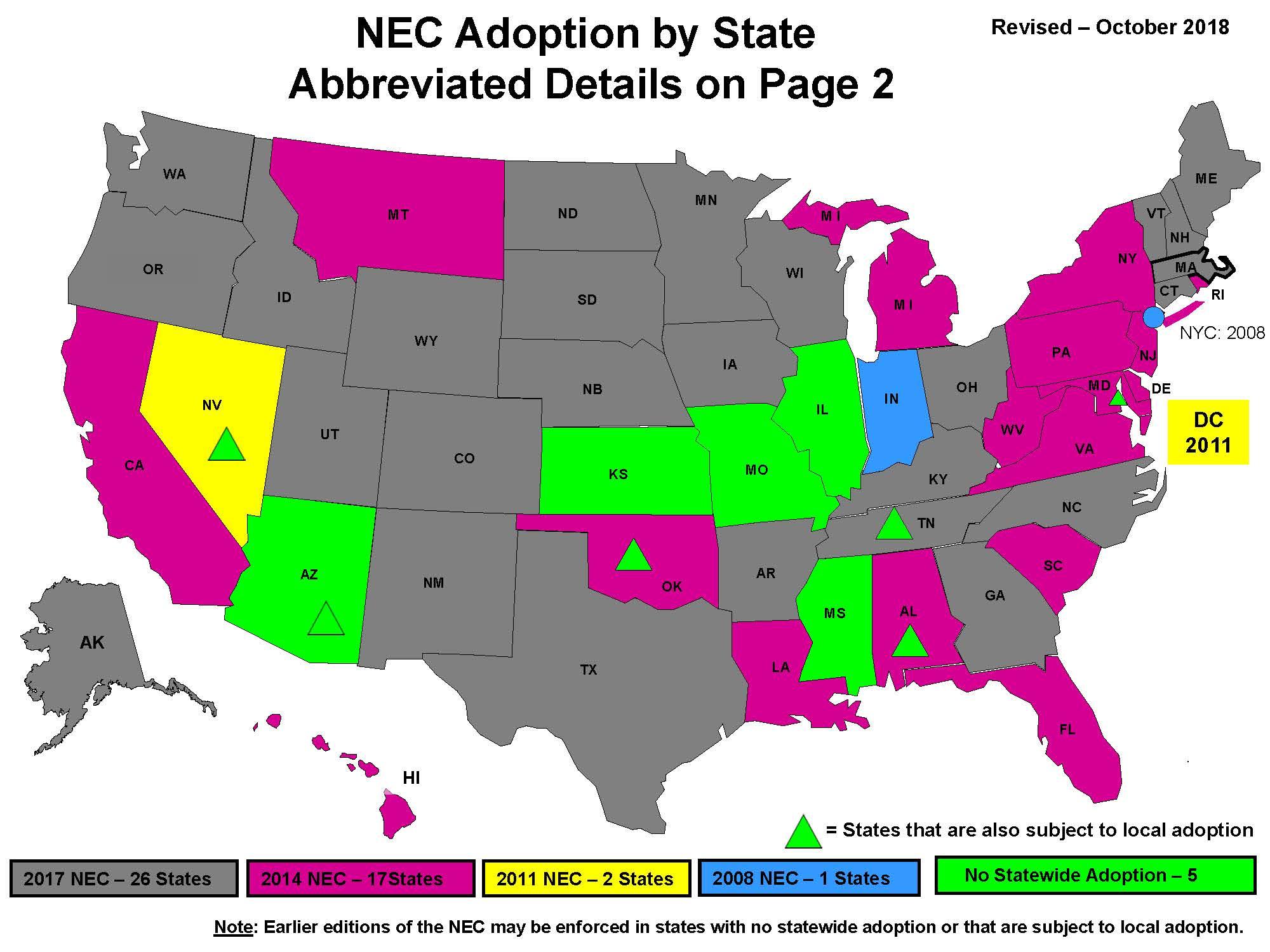 NEC Adopting by State